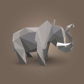 Vector illustration of gray origami elephant on brown background - Free vector #125797