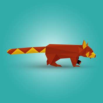 Vector illustration of paper origami red panda on blue background - vector gratuit #125837