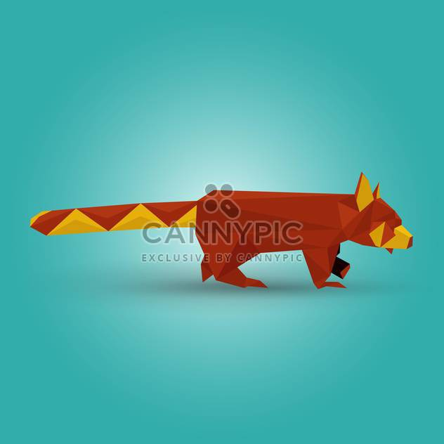 Vector illustration of paper origami red panda on blue background - Free vector #125837