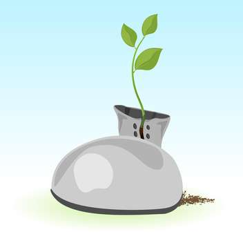 Vector illustration of green plant inside boot on blue background - Free vector #125847
