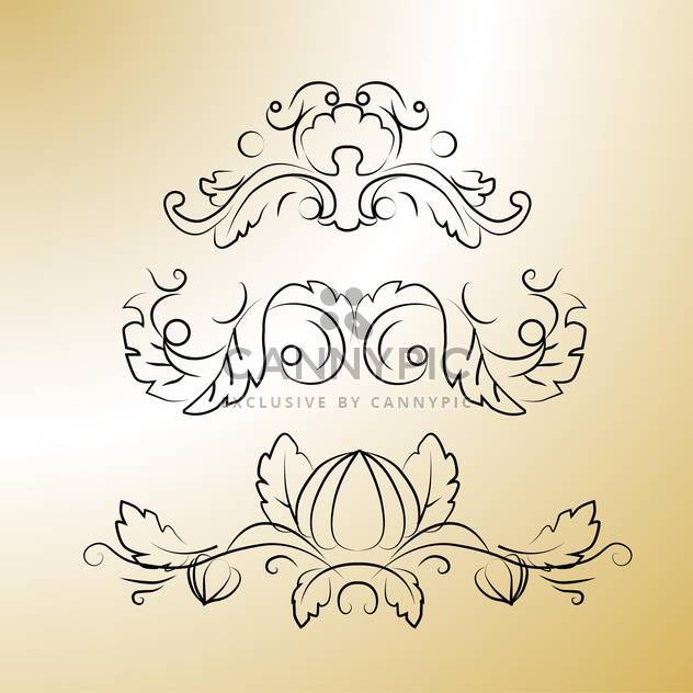 Vector black floral calligraphic elements on brown background - Free vector #125857