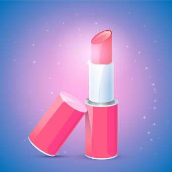 Vector illustration of female pink lipstick on blue background - Free vector #125867