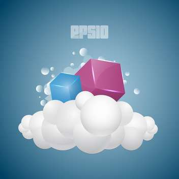 Vector background with colorful cubes on cloud on blue background - Free vector #125897
