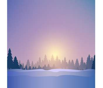 Vector illustration of beautiful winter forest landscape at sunset time - vector gratuit #125937