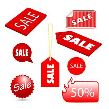 Vector set of red sale tags on white background - Free vector #125957