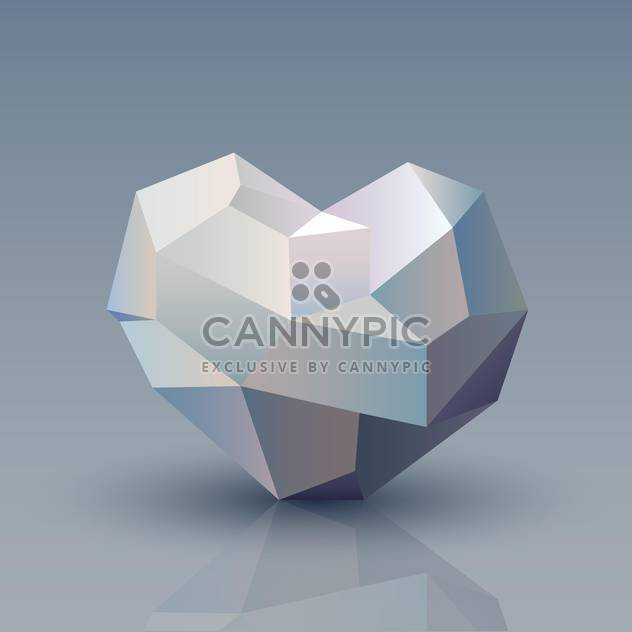 Vector illustration of geometric origami heart on grey background - Free vector #125997