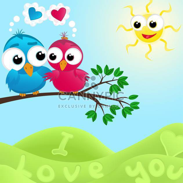 colorful illustration of lovely couple of birds in love at summertime - Free vector #126067