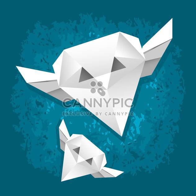 Vector illustration of white paper owls on blue background - Free vector #126077