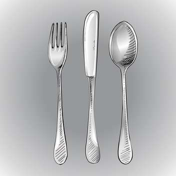Vector illustration of fork with knife and spoon on grey background - Free vector #126107