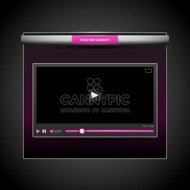 Vector illustration of web video player on dark grey background - Free vector #126167