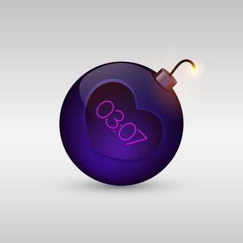 Vector illustration of purple love bomb with timer on white background - Free vector #126217