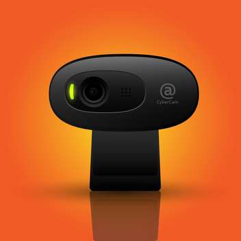 Vector illustration of black webcam on orange background - vector gratuit #126247