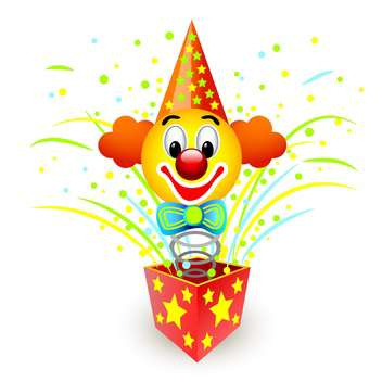 colorful illustration of box with colorful clown on white background - vector gratuit #126257