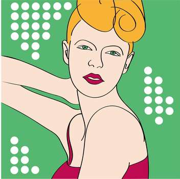 Vector portrait of retro girl with stylish hairstyle on green background - бесплатный vector #126267