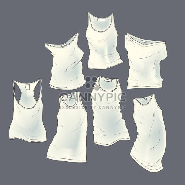 Vector grey background with white different t-shirts - Free vector #126367