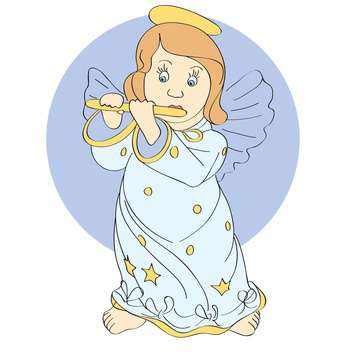 Vector illustration of cute little angel playing music - Free vector #126437