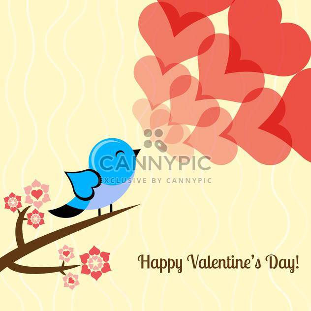 Vector illustration of valentine card with lovely bird and hearts - Free vector #126457