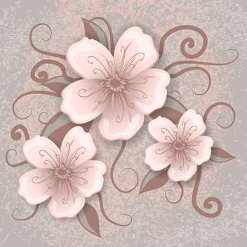 Vector illustration of decoration flowers on pink and grey background - бесплатный vector #126467