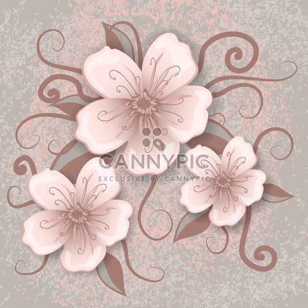 Vector illustration of decoration flowers on pink and grey background - Free vector #126467