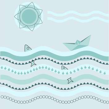 Vector blue background with paper boat on waves - vector gratuit #126497