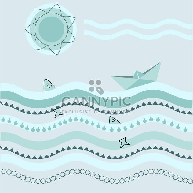 Vector blue background with paper boat on waves - Free vector #126497