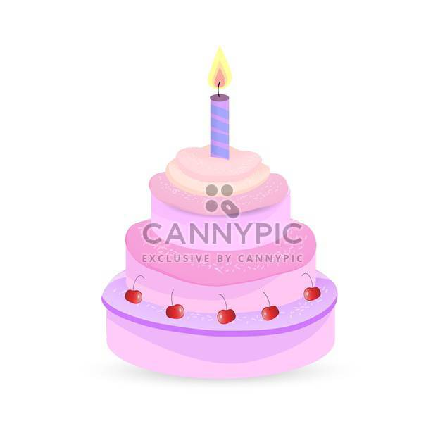 Vector pink birthday cake on white background - Free vector #126517