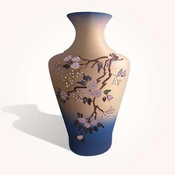 Vector illustration of vase with sakura flowers on white background - Free vector #126547