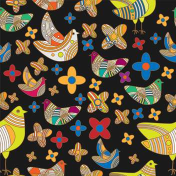 Vector colorful background with drawing birds and flowers - Free vector #126567