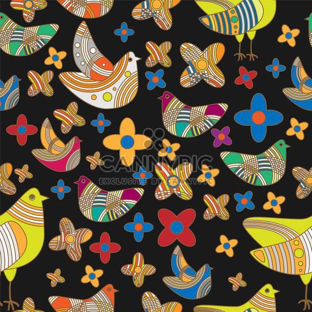 Vektor farbigen Hintergrund mit Zeichnung von Vögeln und Blumen - Free vector #126567