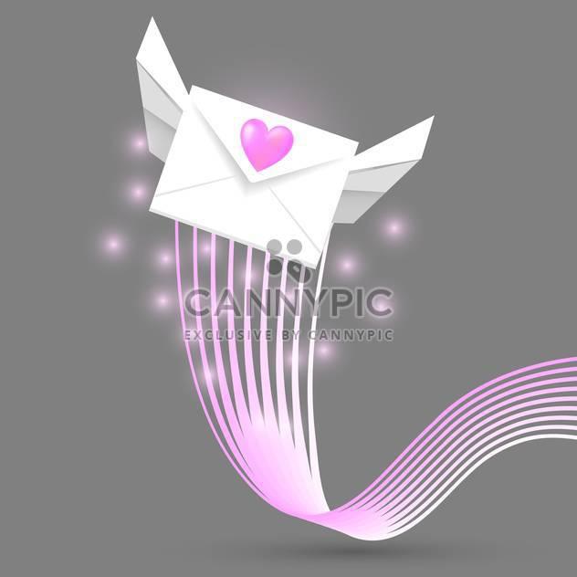 Vektor-Illustration von geflügelten Liebe Post Umschlag auf grauem Hintergrund - Kostenloses vector #126607