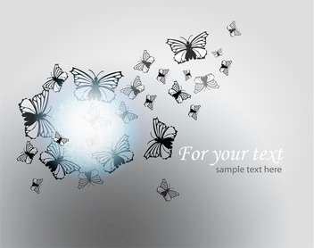 Vector illustration of butterflies on grey background with text place - vector gratuit #126627