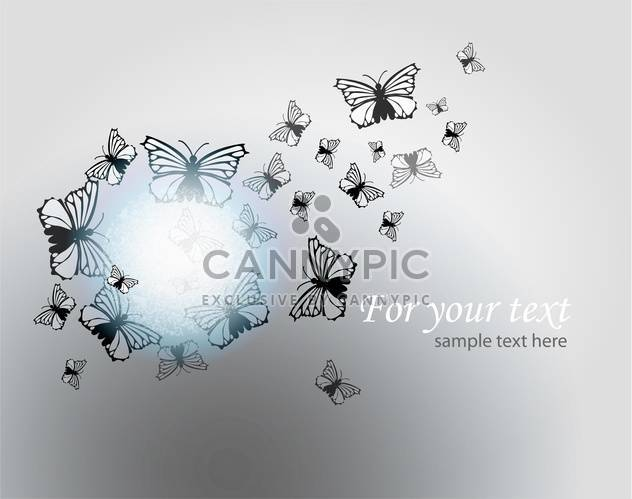 Vector illustration of butterflies on grey background with text place - Free vector #126627