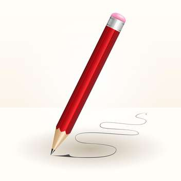 Vector illustration of red wooden pencil on white background - vector gratuit #126637