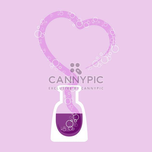 Vektor-Illustration von chemischen Reagenzglas mit lila Herzen - Kostenloses vector #126697