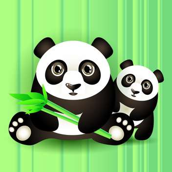 colorful illustration of two cute pandas on green background - vector #126757 gratis