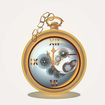 Old pocket watch on golden chain on white background - Free vector #126797