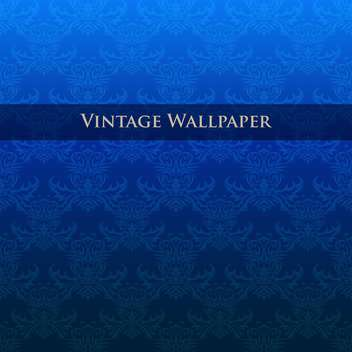 Vector vintage blue wallpaper with floral pattern - vector gratuit #126827