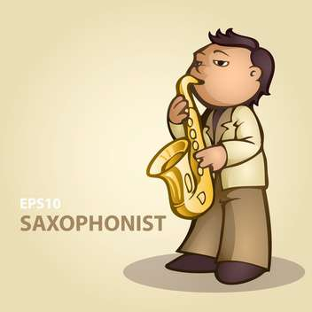 colorful illustration of cartoon saxophonist playing music - бесплатный vector #126857