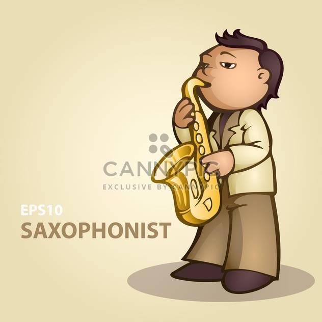 bunte Illustration Karikatur Saxophonist Musizieren - Free vector #126857