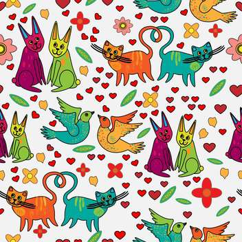 Vector background of colorful animals in love - vector #126887 gratis