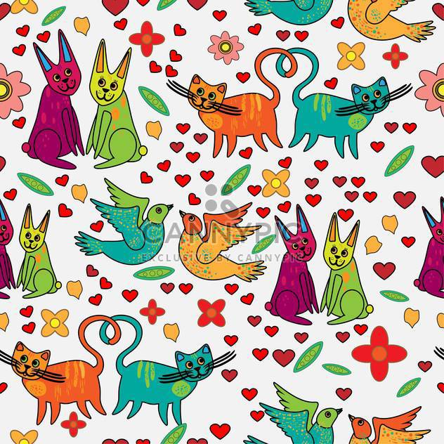 Vector background of colorful animals in love - Free vector #126887