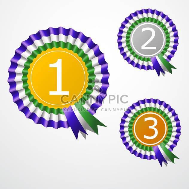 Vector illustration of round shaped award ribbons on white background - Free vector #126897