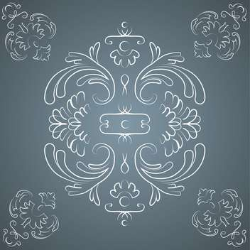 Vector vintage dark background with floral pattern and text place - vector gratuit #126957