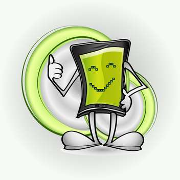 Vector illustration of smart phone character showing thumb up - бесплатный vector #127007