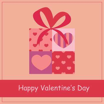 vector illustration of gift box with hearts for Valentine's day - бесплатный vector #127017