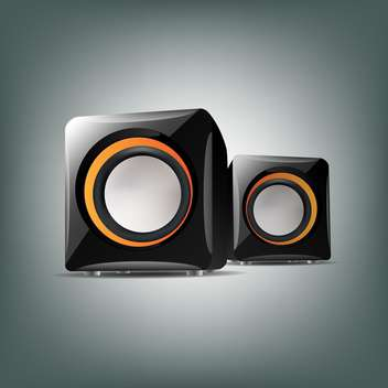 Two audio speakers on grey background - vector gratuit #127047