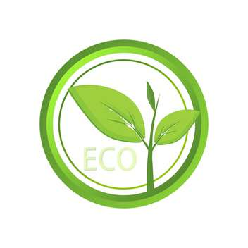 Vector green eco icon on white background - Free vector #127067