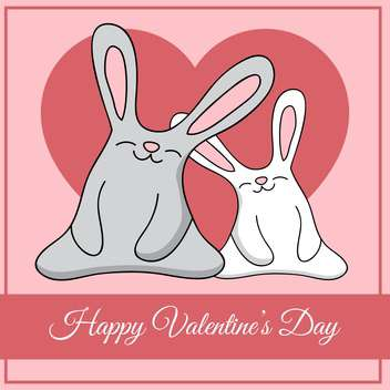 Vector greeting card with rabbits for Valentine's day - Free vector #127077
