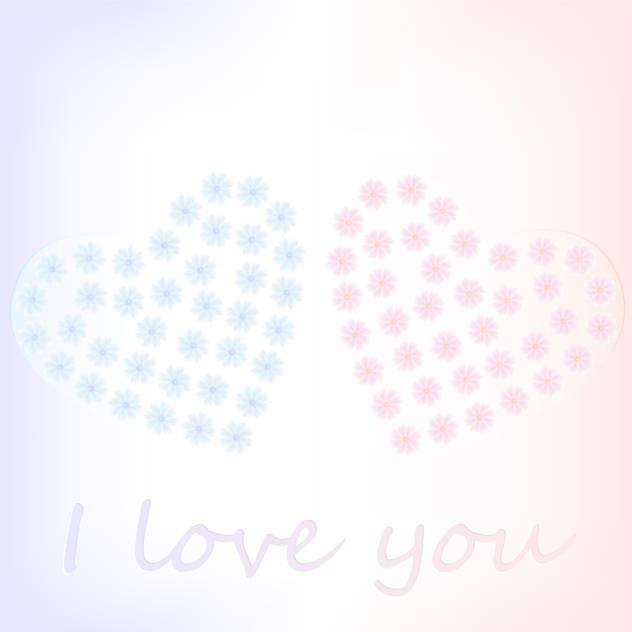 Vector background with floral hearts on white background - vector #127087 gratis