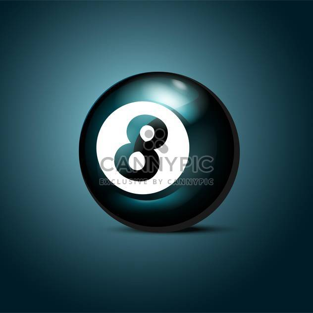 Billiards eight ball on blue background - Free vector #127167